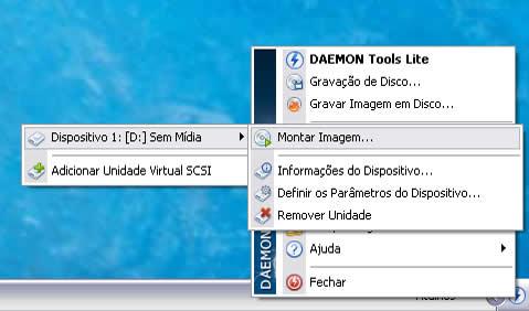 como montar uma imagem daemon tool windows