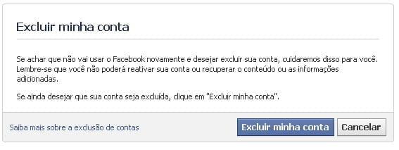 como deletar conta facebook