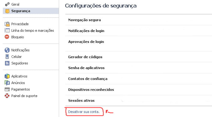 como desativar conta facebook