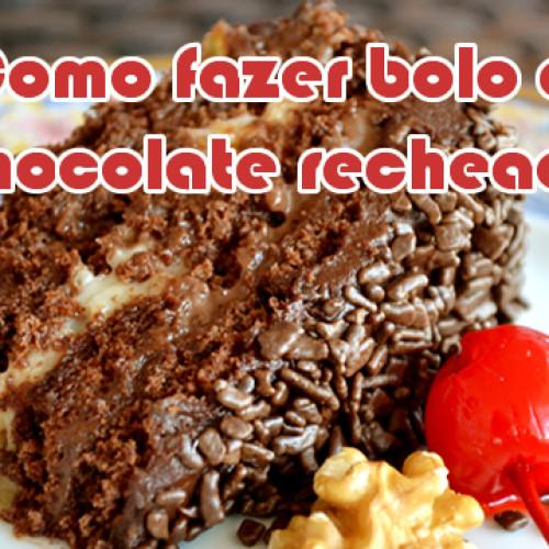 Como fazer bolo de chocolate com recheio e cobertura fácil