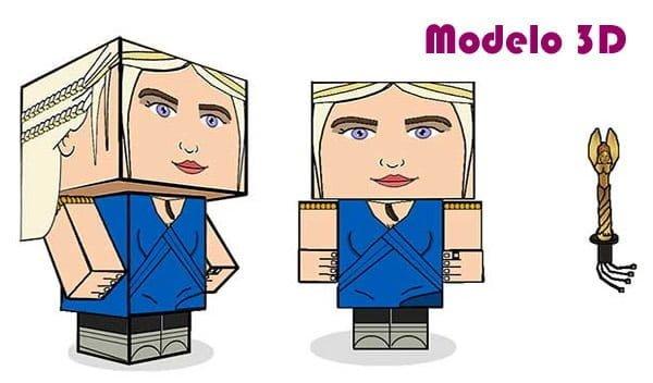 daenerys targaryan paper toy modelo 3d