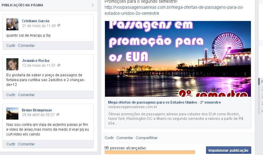 nova pagina fan page facebook