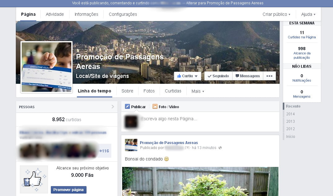 novo layout pagina facebook