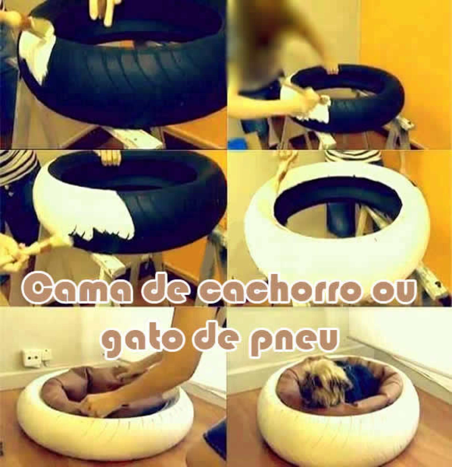 Como fazer cama de cachorro ou gato linda com pneu usado