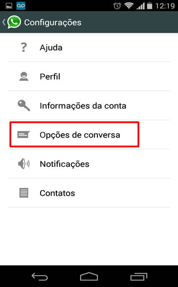 configuracoes whatsapp download automatico