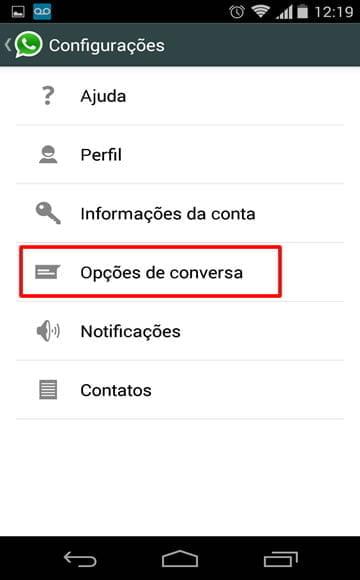 configuracoes whatsapp download automatico