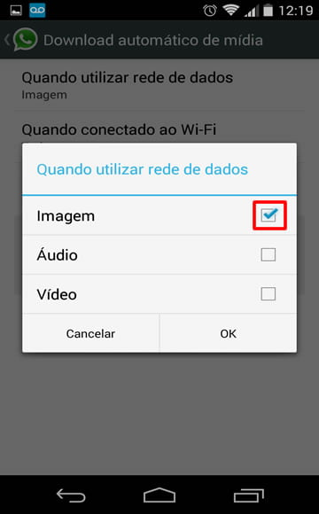 desativando download fotos videos whats