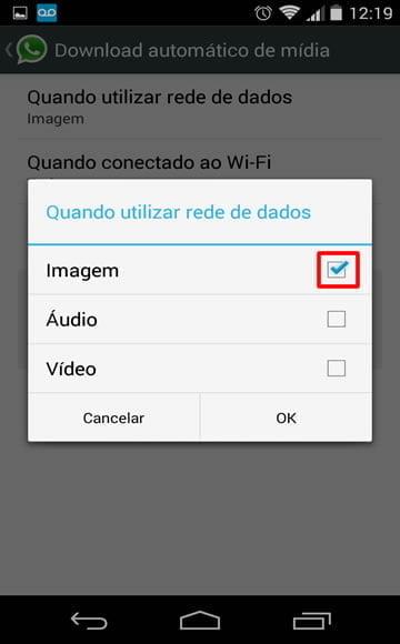 desativando download fotos videos whats