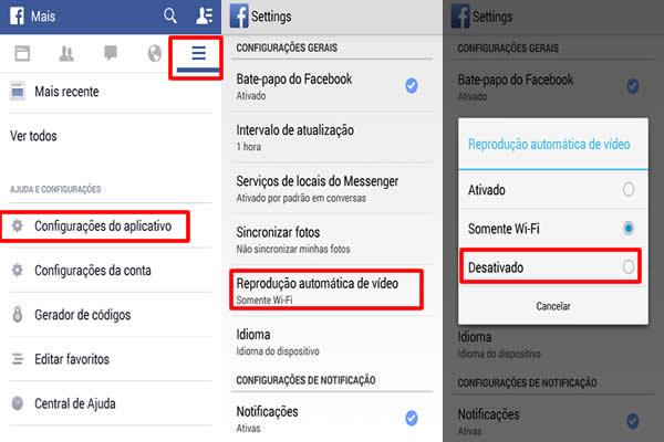 desativar reproducao automatica videos facebook android