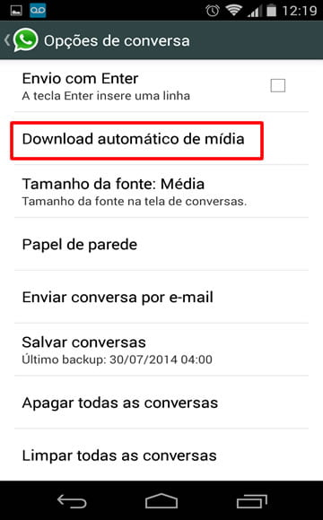 download automatico de midia