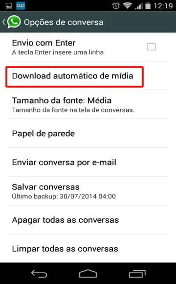 download automatico de midia