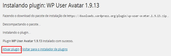 ativar plugin avatar wordpress