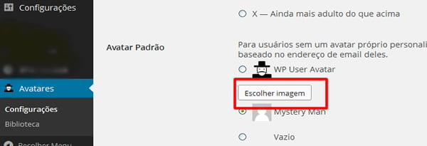 configuracao avatar wordpress