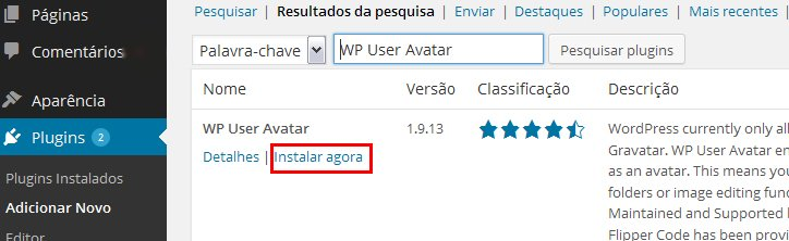 instalar plugin fotos avatar wordpress