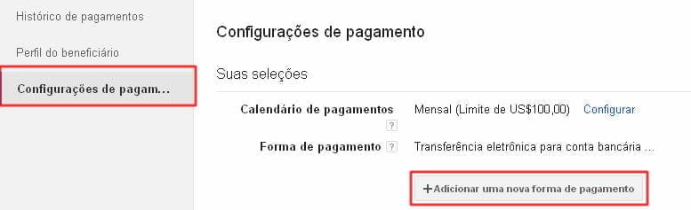 configuracoes de pagamento google adsense banco rendimento
