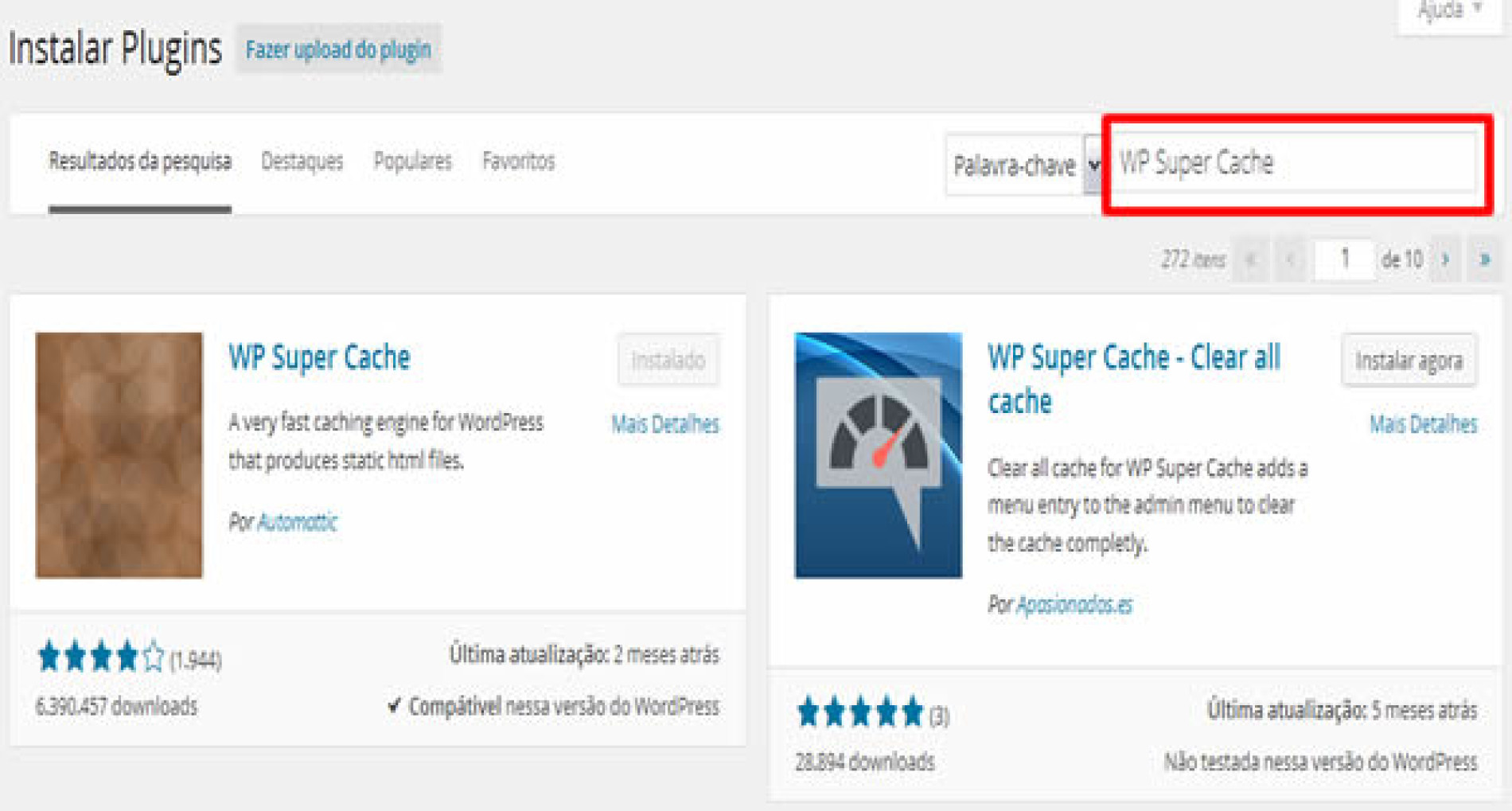 Como instalar o Plugin WP Super Cache no WordPress