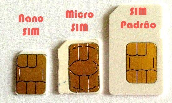 nano sim, micro sim, chip padrao