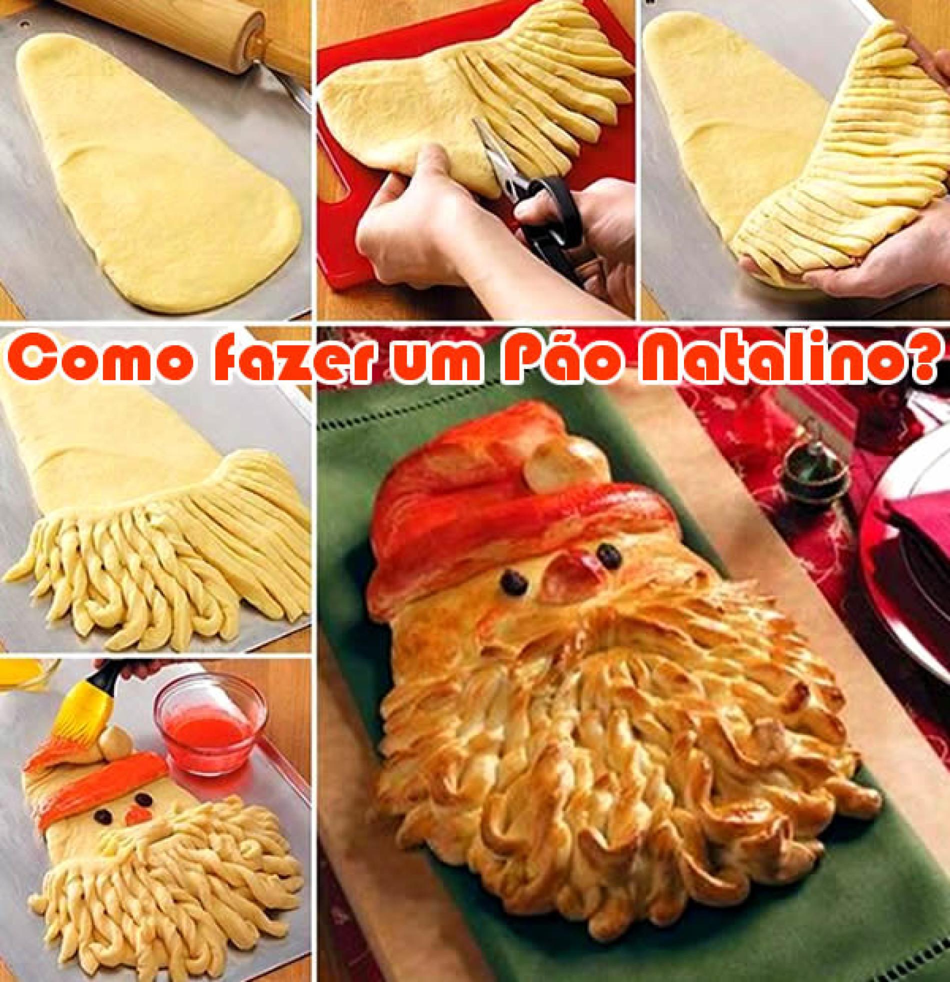 Como fazer um pão natalino do Papai Noel