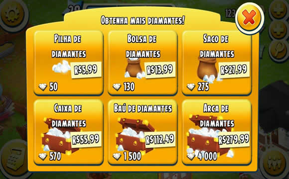 precos diamantes hay day