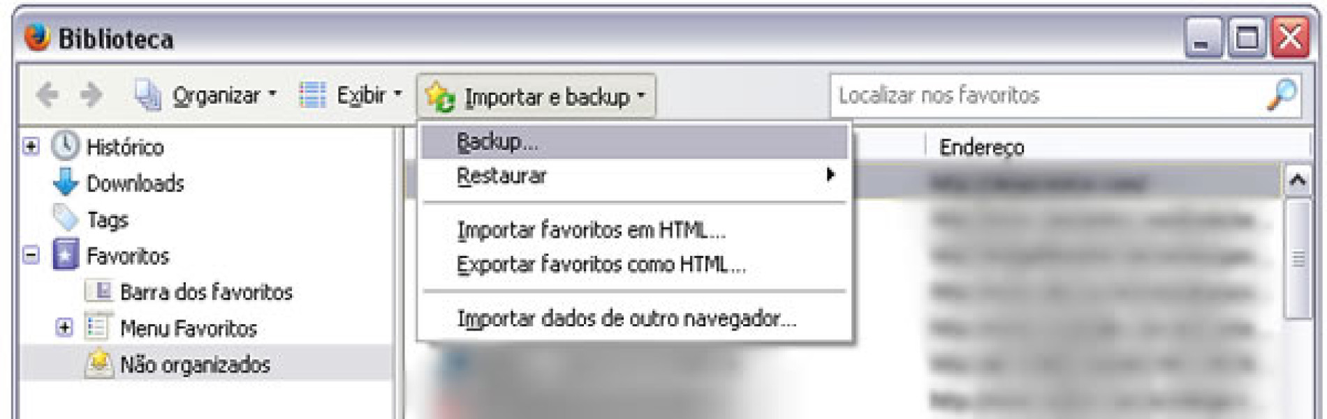 Como salvar e transferir meus favoritos do Firefox?