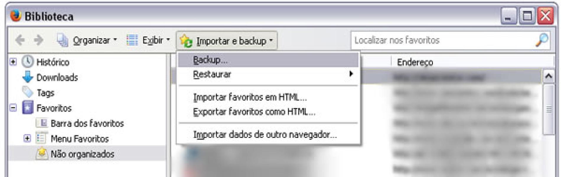 Como salvar e transferir meus favoritos do Firefox?