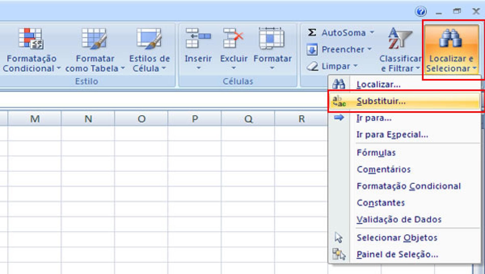 Como localizar ou substituir texto/números no Excel
