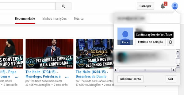 configuracoes video youtube hd