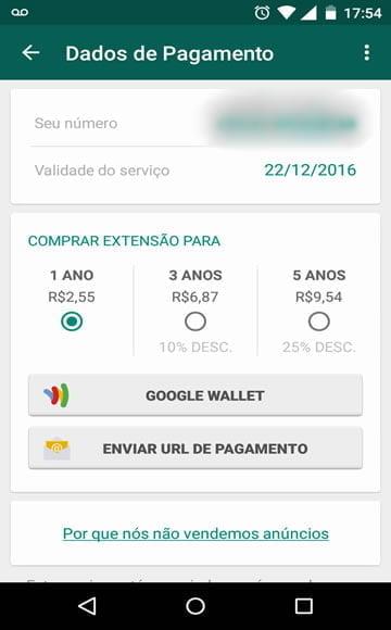 whatsapp pago em 2016