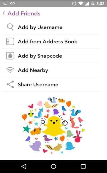 tela de adicionar amigos snapchat