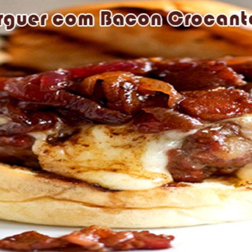 Hambúrguer caseiro com blend de contra filé, patinho e ponta de agulha com bacon crocante