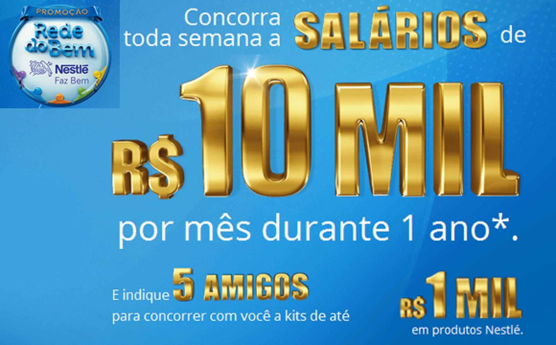Promoção Nestle Rede do Bem – Concorra a salários de 10 mil reais
