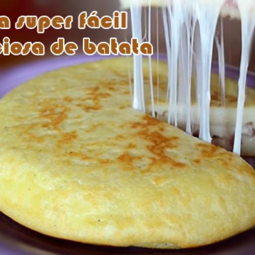 Torta de batata recheada com queijo e presunto