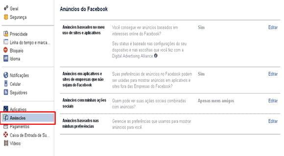 desativar anuncios facebook rastreio