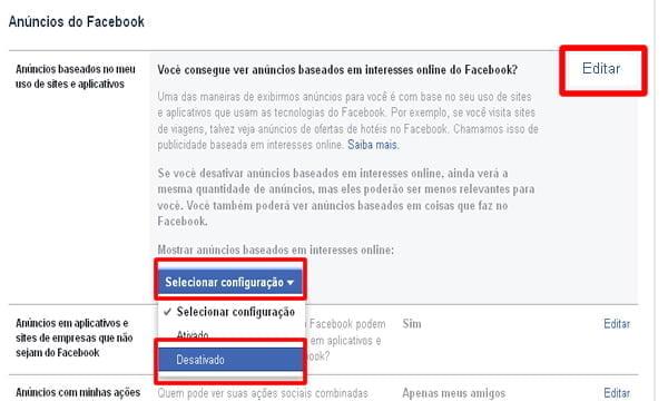 editar configuracao rastreio facebook