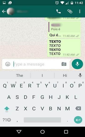 negrito italico sublinhado fonte whatsapp