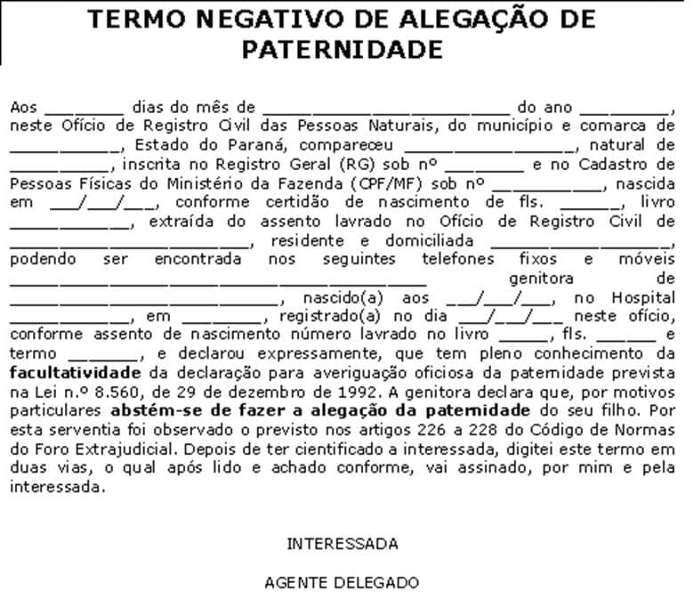 formulario termo negativo paternidade certidao de nascimento
