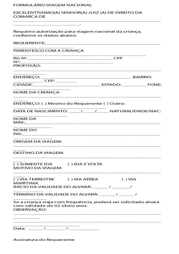 formulario de viagem nacional jovem menor idade