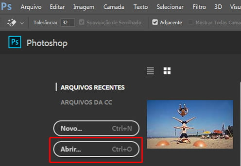 abrir documento remover objeto photoshop