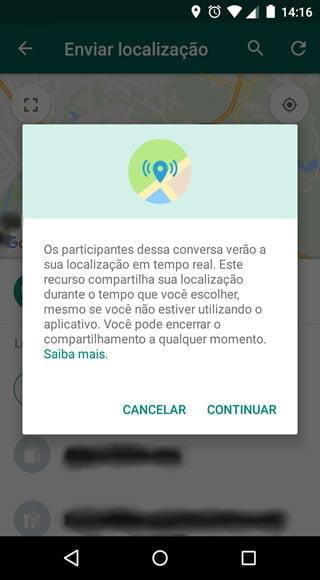 desativar localizacao tempo real whatsapp