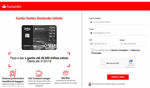 cartao smiles santander banco do brasil bradesco
