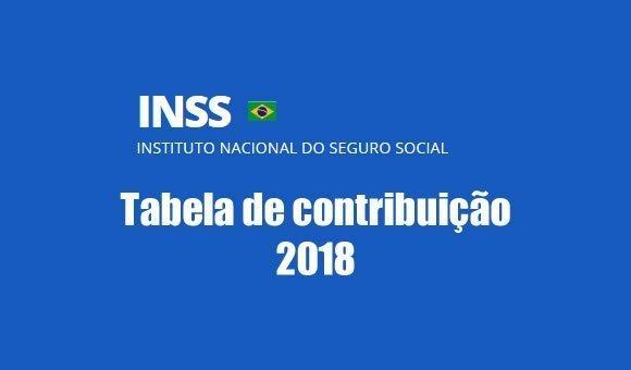 2018 tabela contribuicao inss previdencia