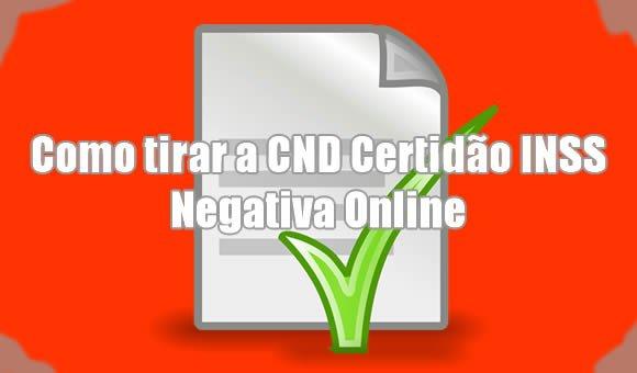 como tirar cnd certidao inss negativa online internet