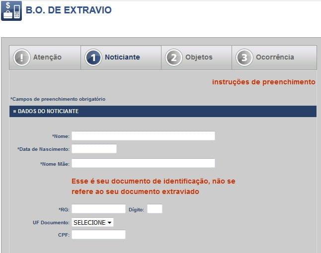 informacoes registro boletim ocorrencia internet