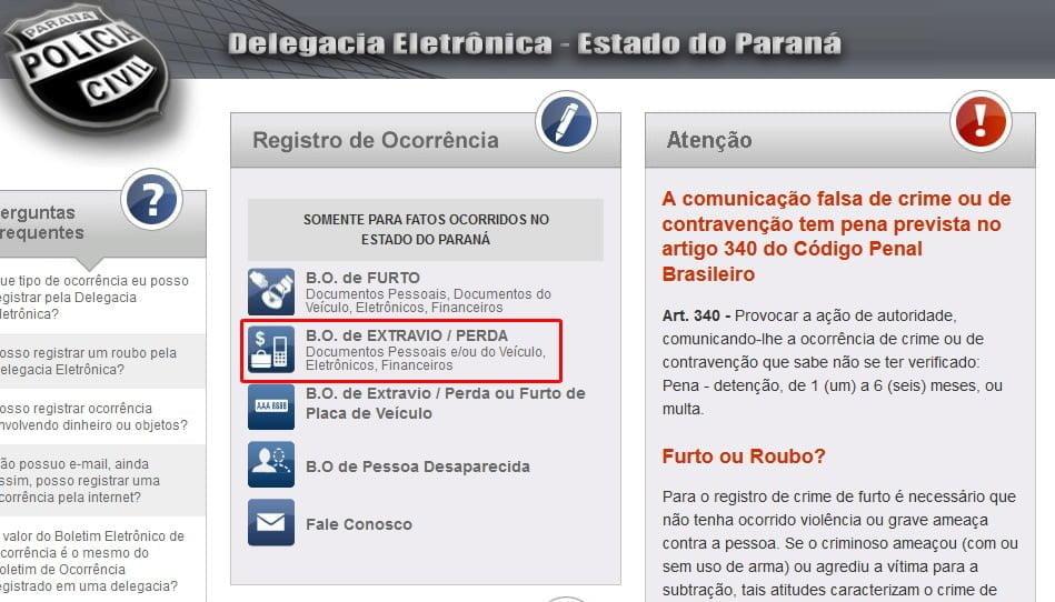site delegacia policia registro bo online