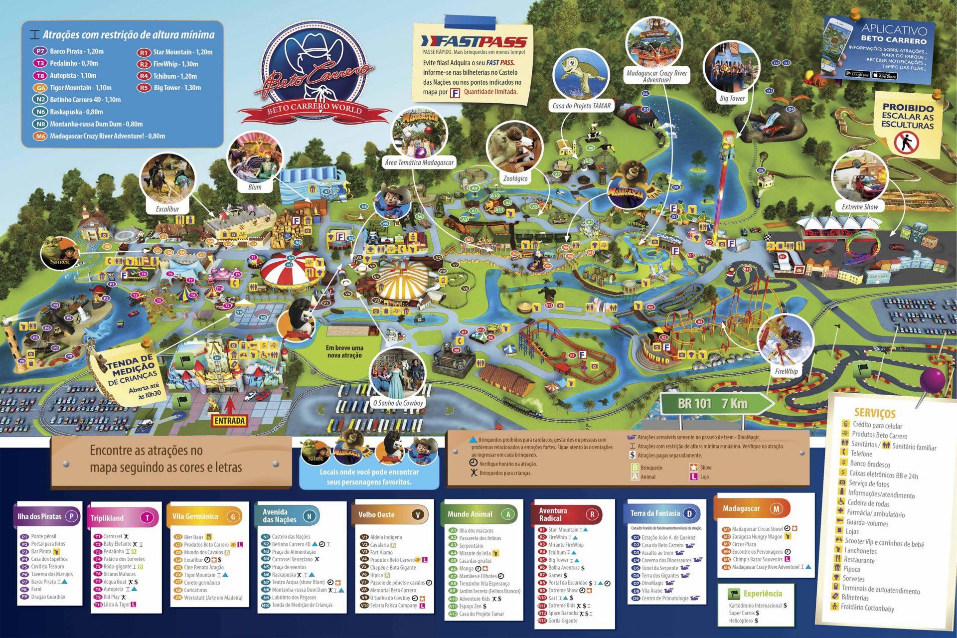 mapa completo brinquedos beto carrero world parque