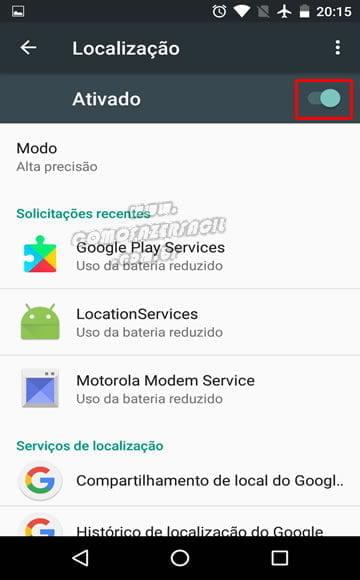 ativando localizacao smartphone android