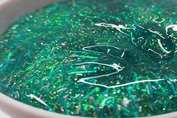 como fazer slime glitter purpurina
