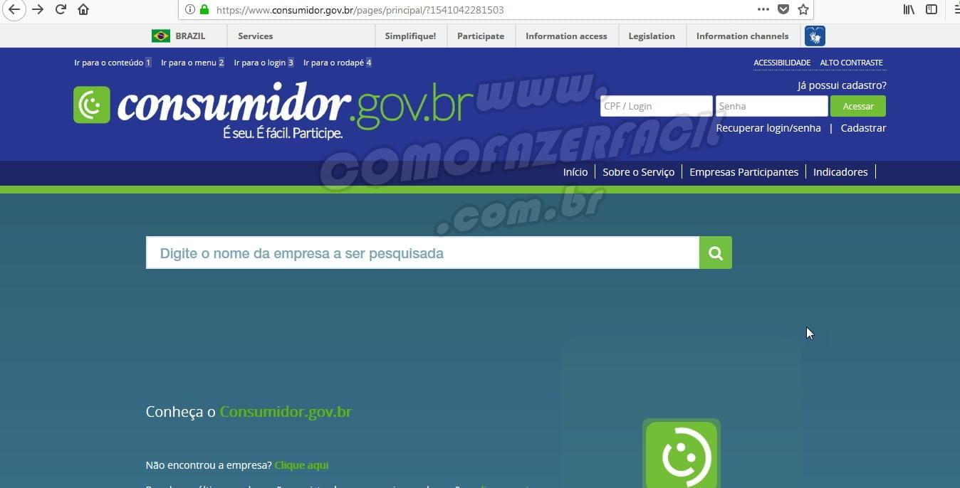 acessando consumidor gov br