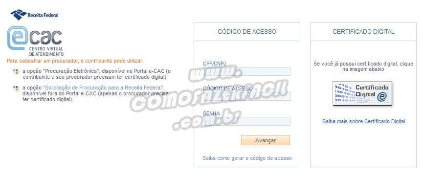site do ecac gerando codigo acesso ir
