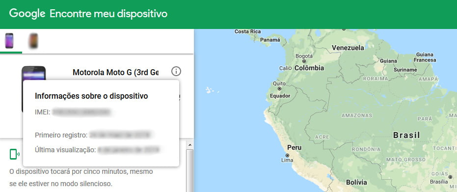 numero codigo imei google encontre meu dispositivo